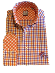 "Clemson 3 Color Gingham Sport Shirt - ""Laying Tiger"" Logo"