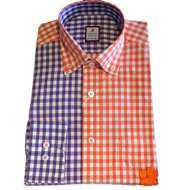 "Clemson Paneled Orange/Purple Sport Shirt - ""Paw"" Logo"