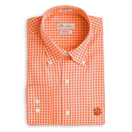 Peter Millar Clemson Nanoluxe Check Woven Shirt - Orange