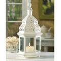 Moroccan White Candle Lantern - 12 inches