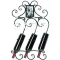 Scrolled Iron Wall-Mounted Wine Rack with Frame