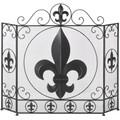 Fleur de Lis Iron Tri-Fold Fireplace Screen