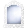 White Flourish Wood Wall Mirror