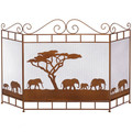 Elephants on the Savannah Fireplace Screen