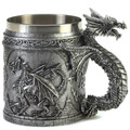 Pewter-Look Medieval Dragon Mug