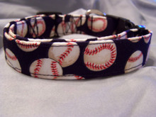 Baseballs on Blue Dog Collar