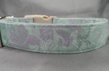 Romantic Purple Flowers on Mint Green Dog Collar