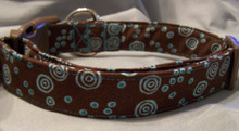 Blue Dots and Swirls on Brown Dog Collar