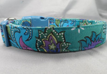 Blue and Green Paisley on Teal Dog Collar