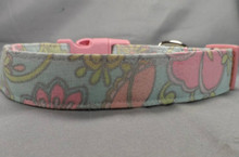 Pink Spring Flowers on Light Blue Dog Collar