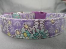 Green Flowers on Purple Dog Collar
