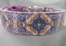 Blue Scroll on Purple Dog Collar