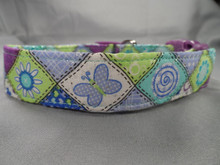 Butterflies and Blossoms Patchwork Dog Collar