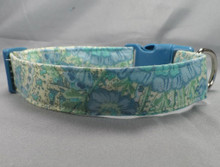Elegant Blue Flowers on Light Green Dog Collar