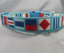 Nautical Flags on Light Blue Dog Collar