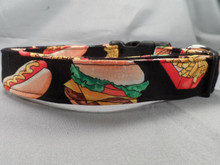 Hamburgers Hotdogs and Fries Dog Collar Rescue Me dog collar