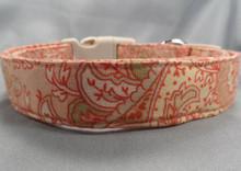 Peach Paisley Dog Collar