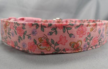 Butterflies and Pink Flowers Dog Collar