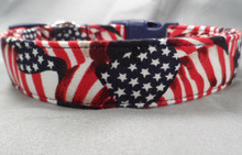 Waving Flags on Navy Blue Dog Collar  rescue me collar