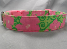 Hot Pink Flowers on Lime Green Scroll Dog Collar Rescue Me Dog Collar