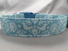 Blue Folk Art Dog Collar