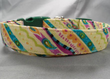 Green Celebration Stripe Dog Collar