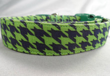 Blue and Green Houndstooth Dog Collar Rescue Me dog collar