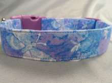 Blue Batik Butterflies Dog Collar