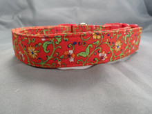 Dog Days Country French Red Floral Collar