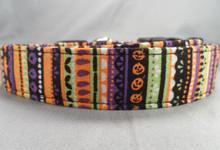Funky Halloween Stripe Dog Collar