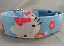Hello Kitty Blue Fabric Dog Collar