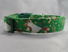 Angels on Green Christmas Dog Collar