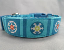 Snowflake Blocks on Blue Dog Collar  Rescue Me Collar