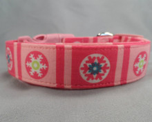 Snowflake Blocks on Pink Dog Collar