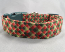 Green and Red Tiled Check Dog Collar