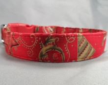Gold Holiday Symbols on Red Christmas Dog Collar