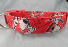 Red Snoopy Comic Valentine Dog Collar