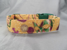Mardi Gras Tan Dog Collar rescue me dog collar