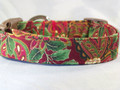 Elegant Holly & Scroll Work Red Christmas Dog Collar