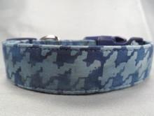 Blue Batik Houndstooth Dog Collar