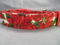 Red Poinsettias on Ivory Christmas Dog Collar rescue me dog collar