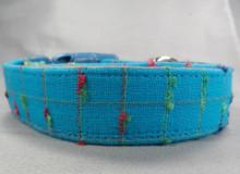 Bright Blue Nubby Plaid Dog Collar
