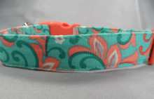 Blue and Peach Swirl Dog Collar Rescue me Collars