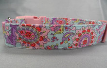 Pink and Purple Paisley on Blue Dog Collar Rescue Dog Collar
