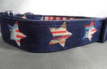 Patriotic Stars on Navy Blue Dog Collar rescue me collar