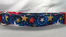Gold and Patriotic Stars on Navy Blue Dog Collar Rescue Me Collar