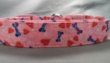 Pink Puppy Hearts and Bones Dog Collar Rescue Me Collars