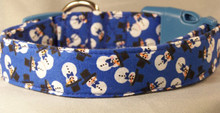 Snowmen on Blue Dog Collar rescue me collar