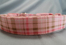 Tan and Pink Plaid Dog Collar rescue me dog collar