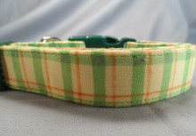 Lemon Lime Plaid Dog Collar Rescue Me Collar